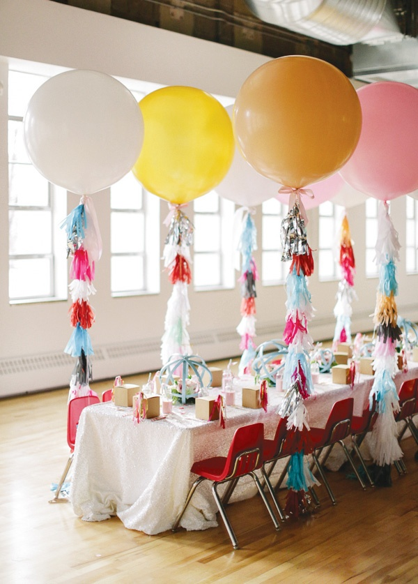 Decorating With Fiestaware Spice Up Simple Floating Balloons By Attaching Streamers Or Pompoms